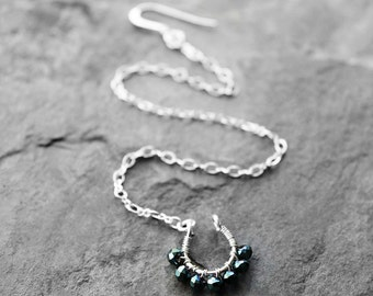 Nose Chain, Nose Jewelry, Silver Septum Nose Chain, Nose Ring, Septum Nose Chain, Tribal Nose Ring, Starry Night Silver Septum Nose Chain