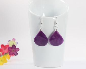 Orchid Earrings, Purple Flower, Real Orchid Jewelry, Deep Purple, Purple Earrings, Petal88