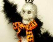 Skeleton Queen ooak art doll Halloween decor black white orange skeleton tree topper Halloween centerpiece