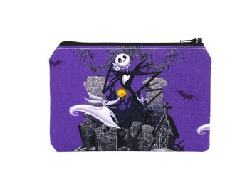 CHOOSE SIZE Jack and Zero Pouch / Nightmare Before Christmas Bag / Purple Small Make Up Zipper Wallet