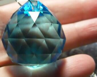OCEAN BLUE glass ball suncatcher ~ Faceted 30mm PRISM lightcatcher ~ Feng Shui - suncatcher - for glass crafting