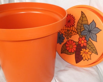 Vintage 1960's Kitchen Canister Large Canister Food Container Mid Century Kitchen Orange Canister Large Rubbermaid Jar Vintage Mod Flower