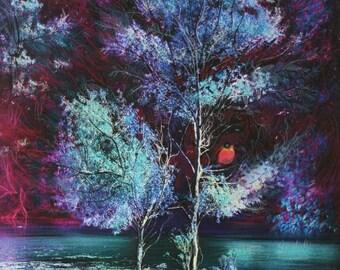 Summer evening, 16x20 inches #Art #Landscape art #Original art #Blue wall art #Gina Signore #Nature art #Original art #bird art #mixed media