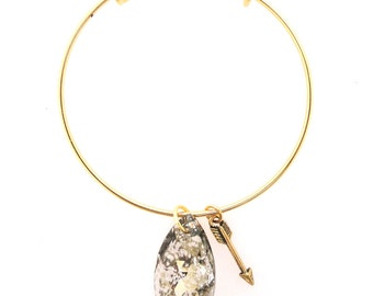 ON SALE! Charming speckled Swarovski crystal teardrop and gold arrow charm on a gold adjustable bangle bracelet