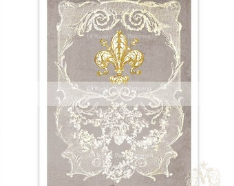 Fleur de lis, print, French, vintage style, French provincial, home decor, wall art, French grey, lace, Paris, French decor