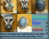 APHRODITE favor Passion moon glow Aquamarine and emerald set in handcrafted setting