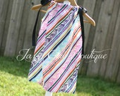Dress Boutique Pillowcase Dresses Peer A Mid Stripe with Black Ribbon Ties Over Both Shoulders