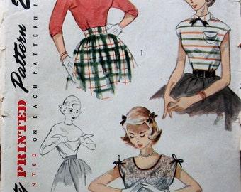 1950s Vintage Misses Blouse Pattern 2 Necklines And Detachable Scarf Smiplicity 3658 Sz14