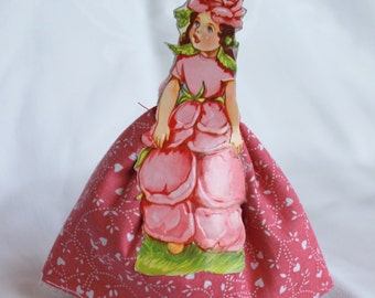 Victorian Flower Girls Dolls, Vintage inspired paper and cloth doll