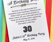 A Birthday Wish - Infinity / Sailor Knot Wish Bracelet - Party Favor Custom Made for You