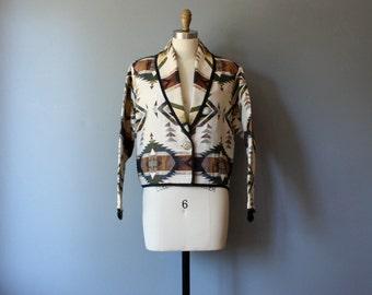 vintage southwestern jacket / bolero jacket / cropped blazer