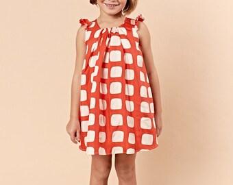 Silk Shift Dress / Panty Cover- LIDA Red Geometric Square Lilla Grey SALE