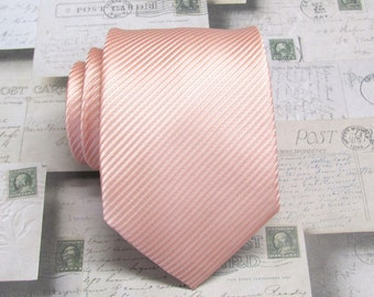Peach Ties. Mens Tie. Light Peach Stripes Necktie With Matching Pocket Square Option