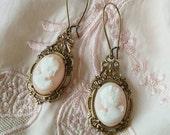 Cameo Earrings in Pale Pink - Edwardian Style Jewelry - Portrait Earrings in Angelskin (SD1003)