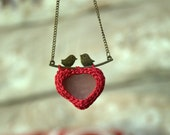 Sea glass red heart necklace love birds twig heart necklace Valentine gift for her crochet jewelry seaglass bronze pendant