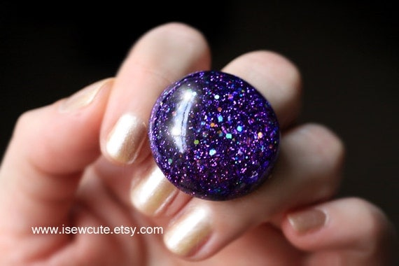 Resin Jewelry, Purple Glitter Ring, Sparkly Resin Out of this World Giant Dome, Bubble Orb Ring - Handmade Resin Fashion Ring by isewcute