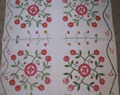 Vintage Quilt c.1875 - Red and Green - Antique Quilt