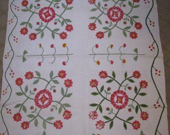 Vintage Quilt c.1875 - Red and Green - Antique Quilt - Vintage Applique