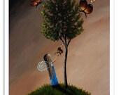 whimsical art prints, fairy art, fairy prints, fairy wall decor, fae, pixie, fairy with butterfly, butterflies, butterfly art prints, 8x10