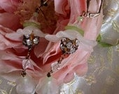 Lilygrace Long White and Green Flower  Earrings with Vintage Rhinestones and Facetted Glass Beads
