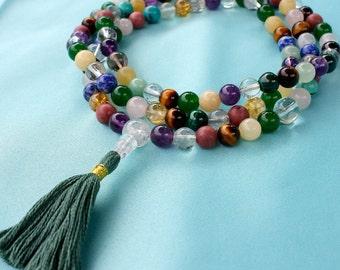 Custom Rainbow Mala Necklace - Mixed Semiprecious Stone Buddhist or Hindu Mala Rosary - 108 or 111 Bead Mala