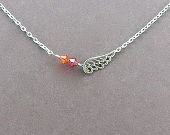 Forever Bond Collection Angel Wing Personalized Necklace, Bridesmaid Gift, Birthstone Necklace