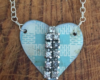 Vintage Reclaimed Upcycled Tin Heart Necklace on Sterling Silver Chain, Gifts under 30, Gifts for Her, Ready to Ship