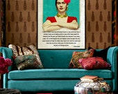 Frida Kahlo Print Instant Digital Download Quote Just As Strange As You Mixed Media Leaning Out Window Aqua Red Black White Yellow Unique