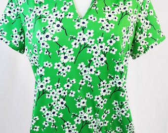 vintage   70s green cherry blossom floral shirt top
