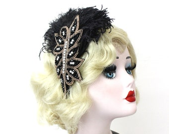 Black Feather Fascinator - Beaded Headband - Crystal Rhinestone Hair Accessory - Great Gatsby Headpiece - 1920s Flapper - Halloween Costume