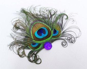 Peacock Feather Fascinator - Purple Hair Accessory - Bridesmaids Head Piece - Weddings Hair Clip - 1920's Flapper - Halloween Costume