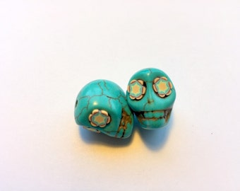 Turquoise Howlite 18mm Sugar Skull Beads with Fun Flower Eyes