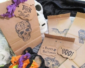 Halloween Favor  Trick or Treat Candy Bags with Ribbons - Set of 10 - Choose Ribbons - Halloween Wedding Favor Trick or Treat