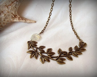 Brass Wreath Leaf Chain Necklace Quartz Crystal Woodland