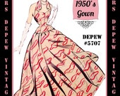 Vintage Sewing Pattern 1950's Evening Gown or Wedding Dress in Any Size - PLUS Size Included - Depew 5707 -INSTANT DOWNLOAD-