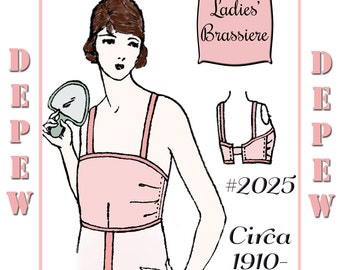 Vintage Sewing Pattern Ladies 1910's - 1920's Style Brassiere Multisize Depew #2025 -PAPER VERSION-