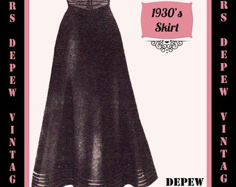 Vintage Sewing Pattern 1930's 1940's A-line Skirt in Any Size Depew 3507 - Plus Size Included -INSTANT DOWNLOAD-