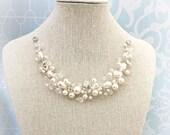Pearl Wedding Necklace , Rhinestone, Swarovski Pearl Bridal Necklace, Fairytale Wedding, Spray Style Pearl Jewelry