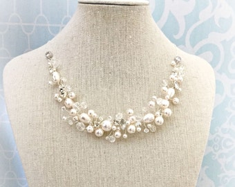 Pearl Wedding Necklace , Rhinestone, Swarovski Pearl Bridal Necklace, Fairytale Wedding, Spray Style Pearl Jewelry