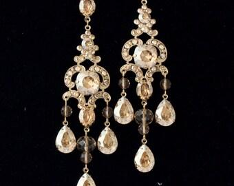 Statement Chandelier Earrings Wedding Earrings Swarovski Golden Shadow Crystal Large Gold  Bridal Earrings Gold Wedding Jewelry  IMOGEN