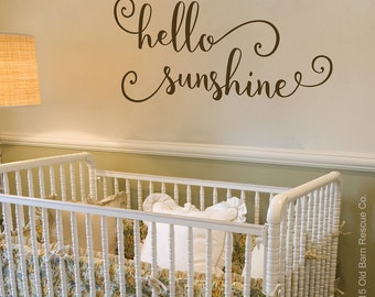 hello sunshine - vinyl wall decal, nursery decor, vinyl lettering, wall decals