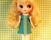 Green Polka Dot Fun Mod Middie Blythe Doll Shift Dress