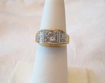 Vintage Vargas Ring 18 KT HGE Rhinestone Crystal Goldtone Silvertone Size 9