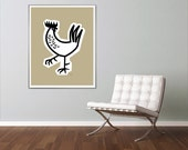 Extra Large Rooster Poster, Restaurant Decor, Rooster Decor