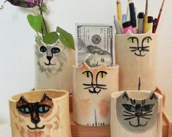 Mothers day gift  for cat lovers planter, Pencil Holder cat pottery: feline decor whimsical