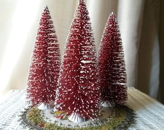 """Bottle brush trees Large 8"""" Red Glittered Christmas trees village crafts supplies vintage style table decor Mid Century style"""