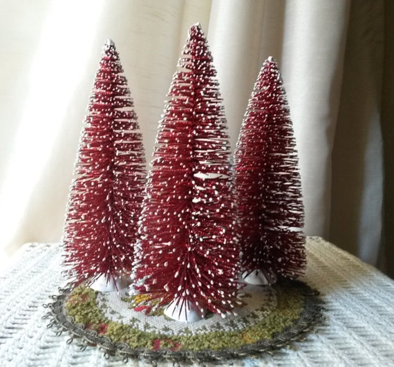 Home Made Modern Craft Of The Week 2 Rustic Christmas Stars: Bottle Brush Trees Large 8 Red Glittered By KraftyChicDesigns
