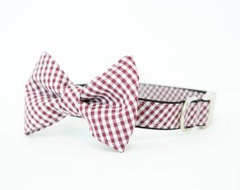 Gamecocks Gingham Check Dog Bowtie Collar
