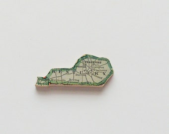 Kentucky Brooch - Lapel Pin / Upcycled Antique 1915 Wood Puzzle Piece / Unique Wearable History Gift Idea / Timeless Gift Under 30