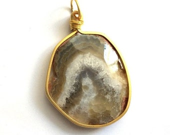 1pc- Matte Gold Plated Druzy Agate Pendant-65x45mm-(010-048GP)